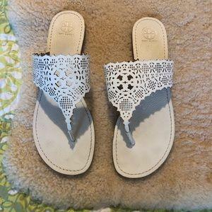 Tory Burch Roselle Laser-Cut Thong Sandal Size 11